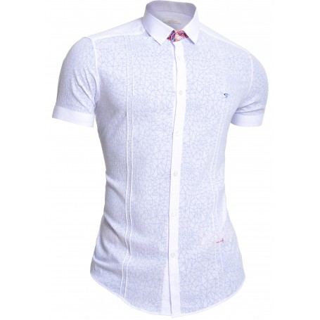 Mondo Men's Short Sleeve Shirt Cotton Slim Fit White Flower Accents Wrinkle Free  Casual and Formal Shirts