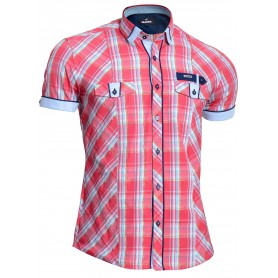 Mondo Men's Short Sleeve Checkered Shirt Gold Cotton Threads Slim Fit Pink Blue  Casual and Formal Shirts