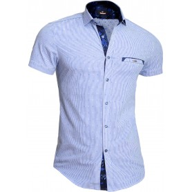 Mondo Men's Short Sleeve Shirt Cotton Slim Fit Light Blue Floral Pattern Pocket  Casual and Formal Shirts