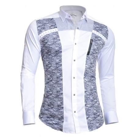 Mondo Men's Long Sleeve Dress Shirt Cotton Slim Fit Metal Zip Knitted Finish  Casual and Formal Shirts
