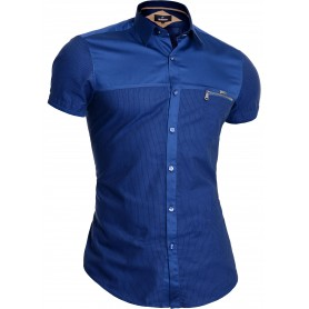 Mondo Men's Short Sleeve Shirt Cotton Slim Fit Blue 100% Cotton Zip Pocket Layers  Casual and Formal Shirts