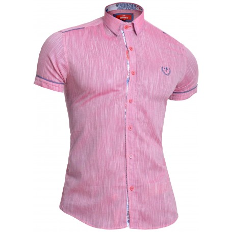 Mondo Men's Linen Short Sleeve Shirt Cotton Slim Fit Point Collar Paisley Finish  Casual and Formal Shirts