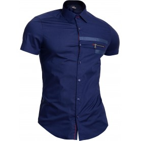 Mondo Men's Cotton Short Sleeve Shirt Classic Collar Slim Navy Blue Zip Pocket  Casual and Formal Shirts
