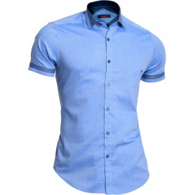 Mondo Men's Sky Blue Shirt Short Sleeve Dress Shirt Cotton Limited Slim Fit Dots  Casual and Formal Shirts