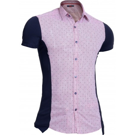 Mondo Men's Stretchy Cotton Short Sleeve Shirt Classic Collar Long Pink Purple  Casual and Formal Shirts