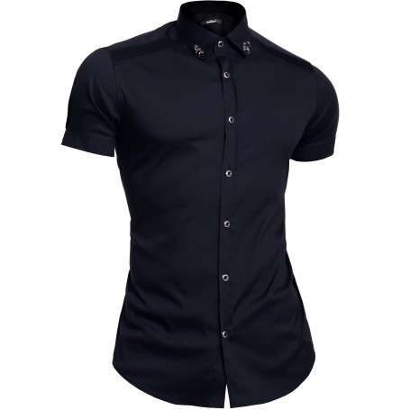 Mondo Men's Short Sleeve Shirt Cotton Ribbed Chest Collar Rings Slim White Black  Casual and Formal Shirts