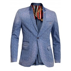 Men's Designer Mondo Blazer Floral Pattern Blue Washed out Denim Tight Slim Fit  Blazers