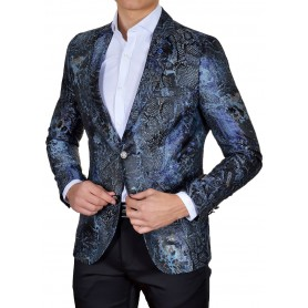 Designer Mondo Blazer Jacket for Men Snake Skin Pattern Navy Blue Slim Fit  Casual and Formal Shirts