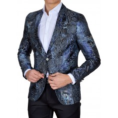 Designer Mondo Blazer Jacket for Men Snake Skin Pattern Navy Blue Slim Fit