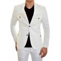 Mondo Designer Linen Blazer Jacket for Men Ivory Off White Metal Button Slim Fit  Blazers