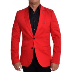 Designer Men's Mondo Blazer Jacket Bloody Red Elbow Patches Cotton Custom Fit  Blazers