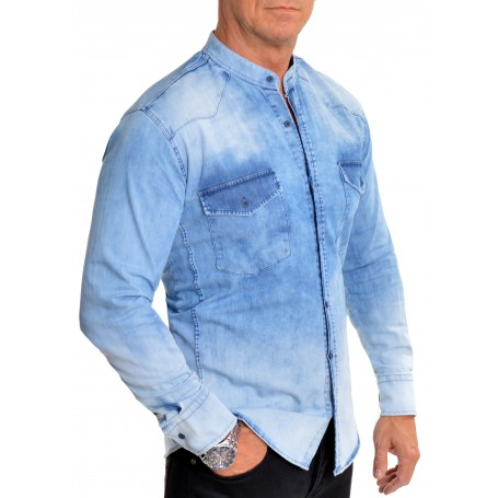 D&R Fashion Men's Denim Grandad Shirt Comfort Fit Front Pockets Band Mao Collar Bleached  Casual and Formal Shirts