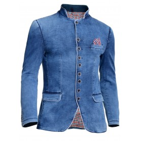 Mens Denim Jacket Washed Out Blue White Piping Band Grandad Collar Slim Fit  Blazers