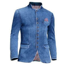 Mens Denim Jacket Washed Out Blue White Piping Band Grandad Collar Slim Fit