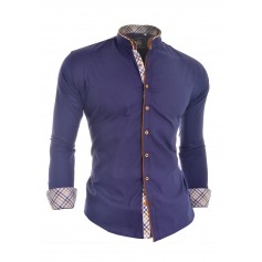 Stylish Shirt with Grandad Collar and Elbow Patches