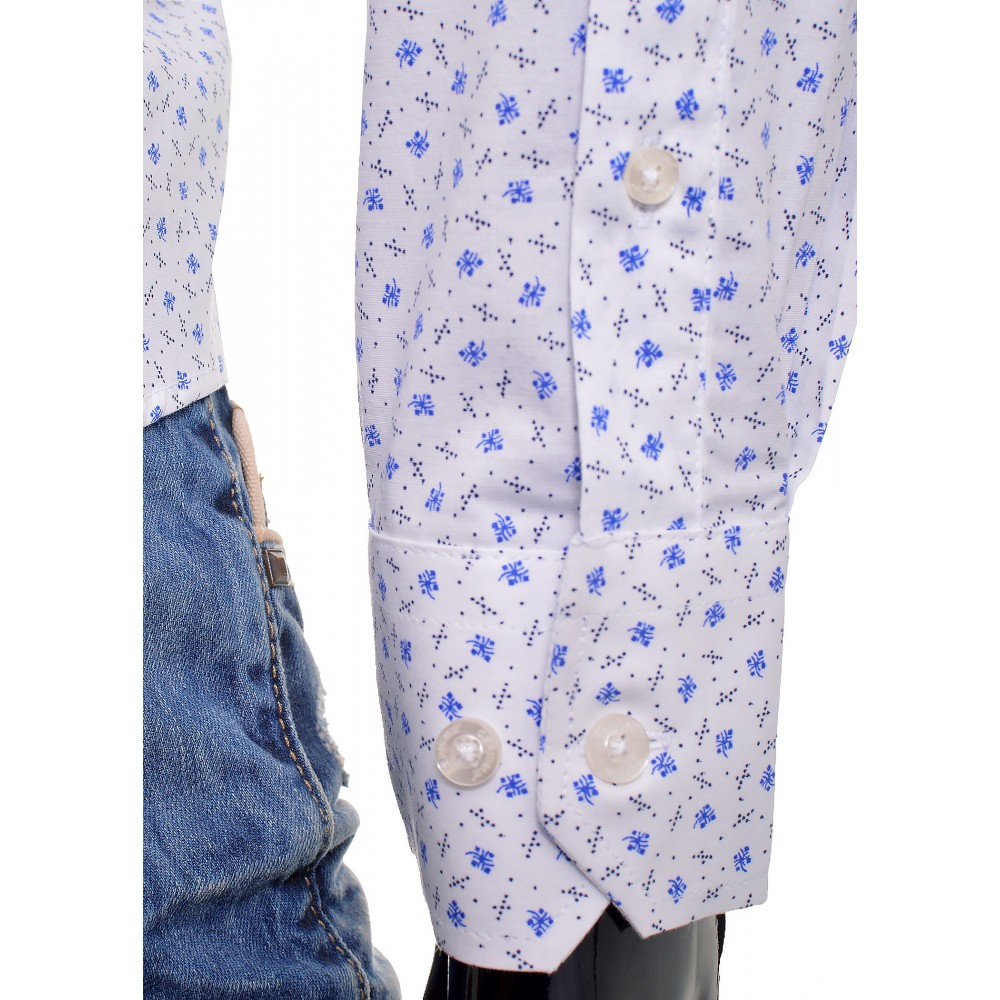 Blue White Men Shirt Flower Pattern