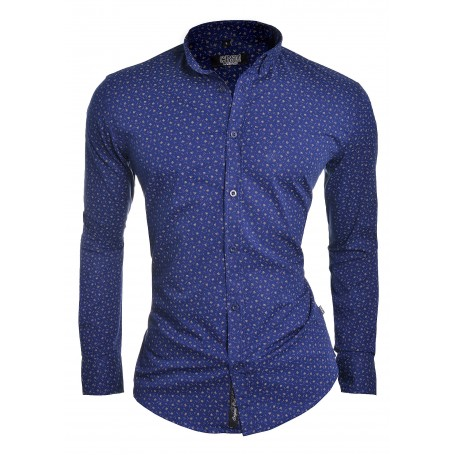 Blue White Men Shirt Flower Pattern  Casual and Formal Shirts