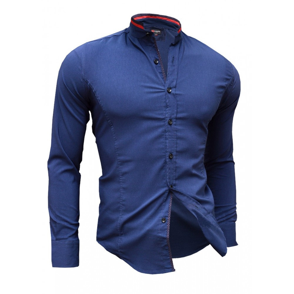Shirt Casual Formal Stand Up Collar Slim Fit Decorative Band