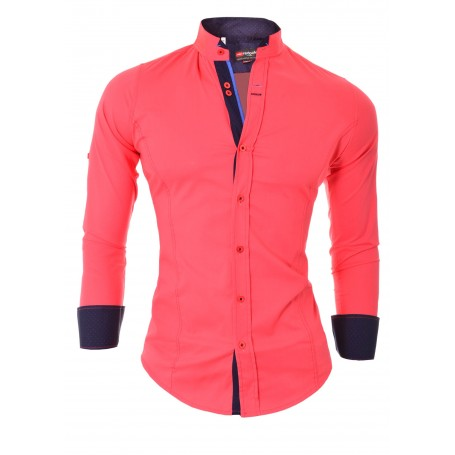 Men's Shirt Slim Fit Stand-Up Collar Roll-Up  Casual and Formal Shirts
