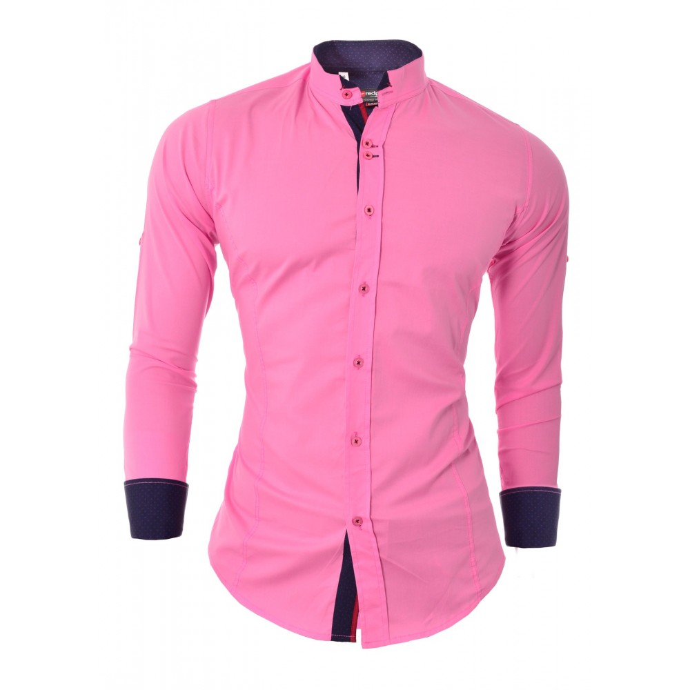 Men S Shirt Slim Fit Stand Up Collar Roll Up