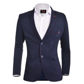Blue Black Grey Mens Blazer Casual Look Contrast Stitching  Blazers