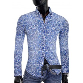 Washed Blue Men Shirt Flower Pattern Modern Slim Fit  Casual and Formal Shirts