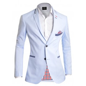 Light blue Stylish Summer Blazer Check Finish  Blazers
