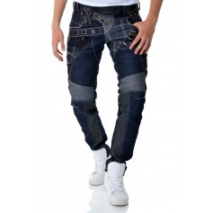 Designer Cipo & Baxx Blue Jeans Vintage Patches Double Waist CD310  Jeans and Trousers