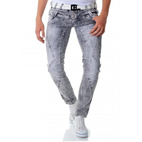 Cipo & Baxx Grey Jeans Vintage Stitching Double Waist X2  Jeans and Trousers