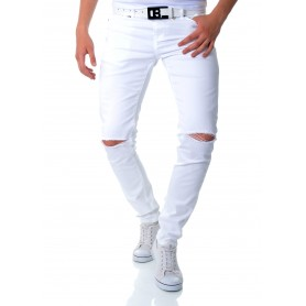 Cipo & Baxx All White Denim Jeans Distressed Finish Slim Fit  Jeans and Trousers