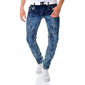 Cipo & Baxx Blue Denim Jeans Patches Metal Zipps Regular Fit  Jeans and Trousers