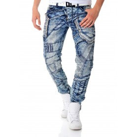 Cipo & Baxx Blue Denim Jeans Thick Patches Regular Fit Washed Out  Jeans and Trousers