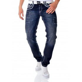Cipo & Baxx Dark Blue Denim Jeans White Embroidery Regular Fit  Jeans and Trousers