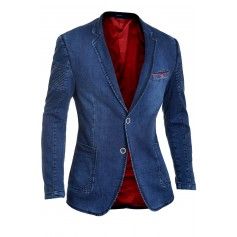 Denim Blazer with Ribbed Sleeves  Blazers