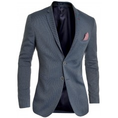 Men's Blazer Navy Classic Deisgn Red Finish Slim Fit Soft Cotton