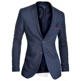 Men's Blazer Jacket Dark Blue Classic Design Red Finish Slim Fit  Blazers