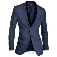 Men's Blazer Jacket Dark Blue Classic Design Red Finish Slim Fit