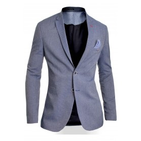 Men's Classic Blazer Jacket Blue Casual Business Red Finish Slim Fit Soft Cotton