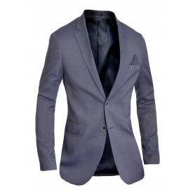 Men's Classic Design Blazer Jacket Blue Casual Contrast Finish Slim