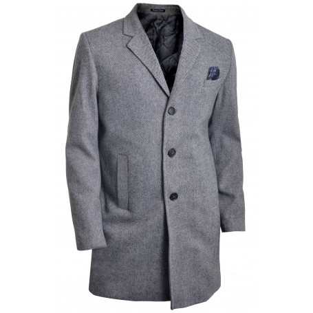 Men's Winter Over Coat 3/4 Long Jacket Tweed Cashmere Regular Fit BIG AND TALL   Jackets and Coats