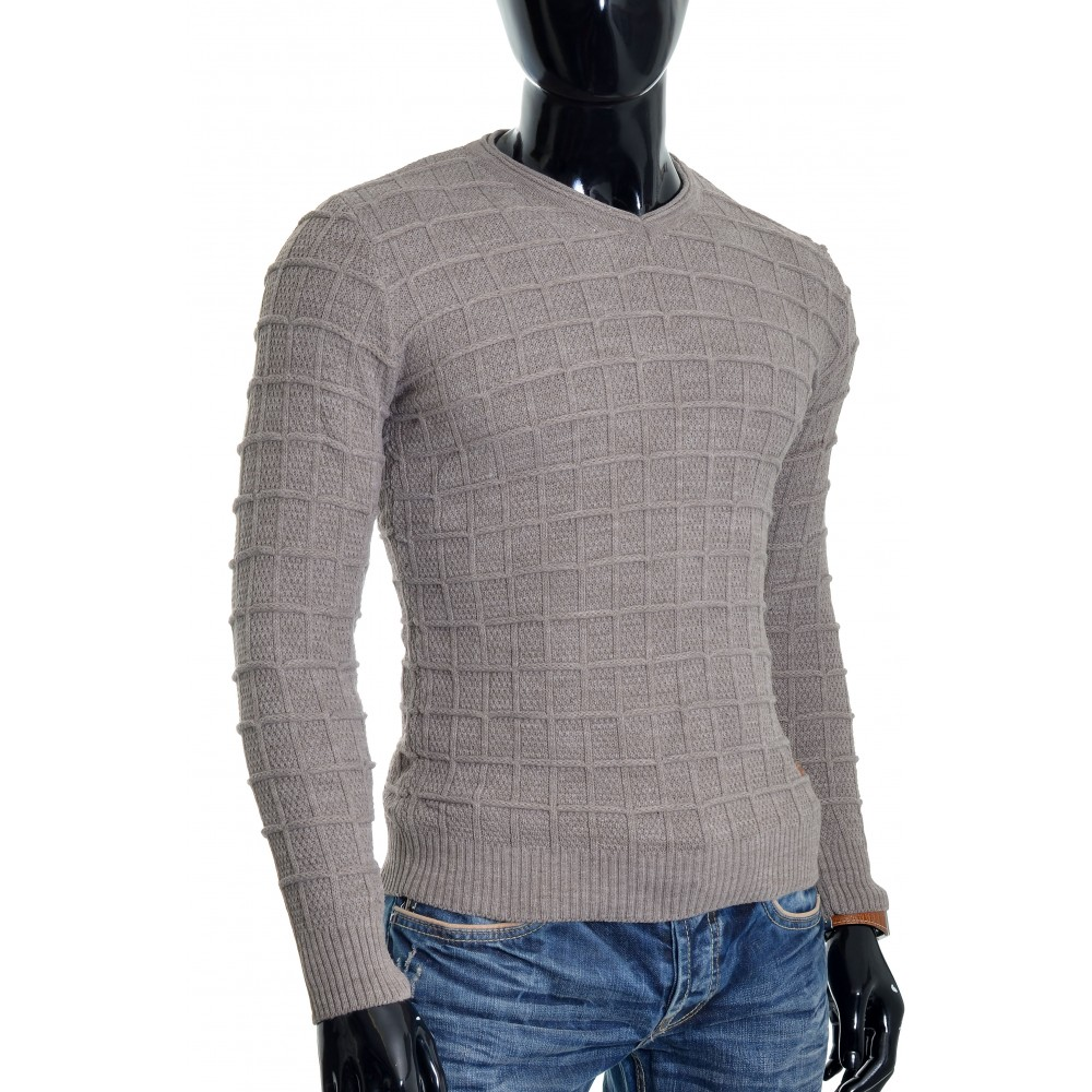 9ea7dce5f66d ... Men's Wool Jumper Knit Smart Long Sleeve Sweater Crew Neck Check Top  Slim Sweaters and Cardigans ...