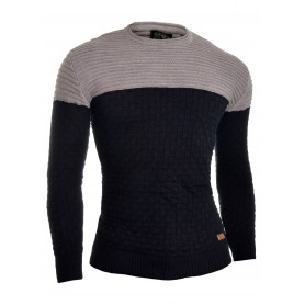 D&R Men's Wool Knit Jumper Smart Long Sleeve Sweater Crew Neck Ribbed Top Slim