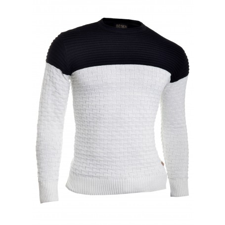 D&R Men's Wool Knit Jumper Smart Long Sleeve Sweater Crew Neck Ribbed Top Slim  Sweaters and Cardigans