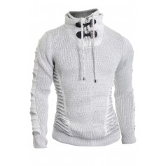 Men's Zip Funnel Neck Jumper Wool Knited Long Sleeve Sweater Striped Thick Warm  Sweaters and Cardigans