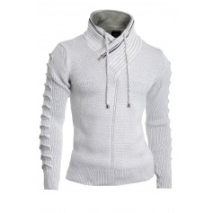 Men's Jumper Double Zip Funnel Neck Wool Cable Knit Long Sleeve Sweater Ivory