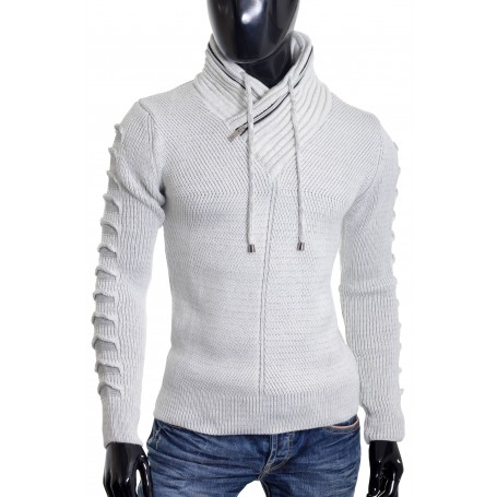 Men's Jumper Double Zip Funnel Neck Wool Cable Knit Long Sleeve Sweater Ivory  Sweaters and Cardigans