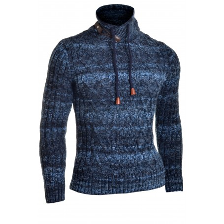 Men's Jumper Double Zip Funnel Neck Wool Cable Knit Long Sleeve Sweater Striped  Sweaters and Cardigans