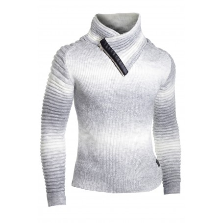 7dc83259be3 Men's Half Zip Funnel Neck Jumper Wool Knit Long Sleeve Sweater Striped  Ribbed