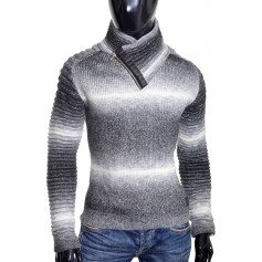 Men's Half Zip Funnel Neck Jumper Wool Knit Long Sleeve Sweater Striped Ribbed
