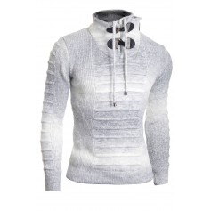 Men's Half Zip Funnel Neck Jumper Wool Knit Long Sleeve Sweater Striped  Sweaters and Cardigans